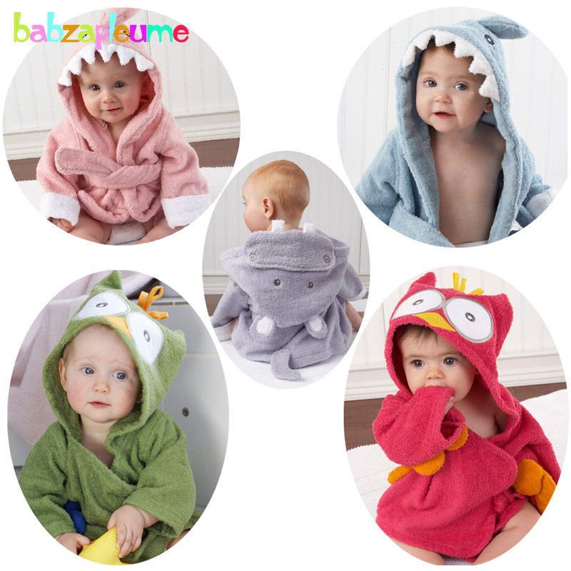 0 24Months Spring Autumn Baby Boys Girls Nightgown Cartoon Cute Hooded Animal Towel Newborn Bathrobe Infant