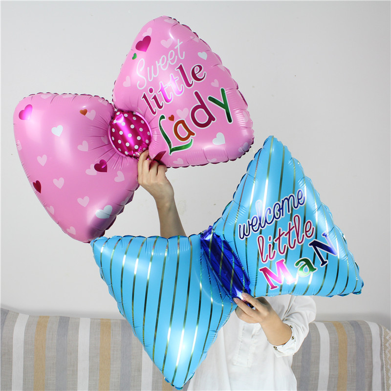 Bowknot Balloons Little Lady Man 50pcs/lot Gender Reveal Kid Birthday Party Wedding Accessories Decoration Ballon Supplies