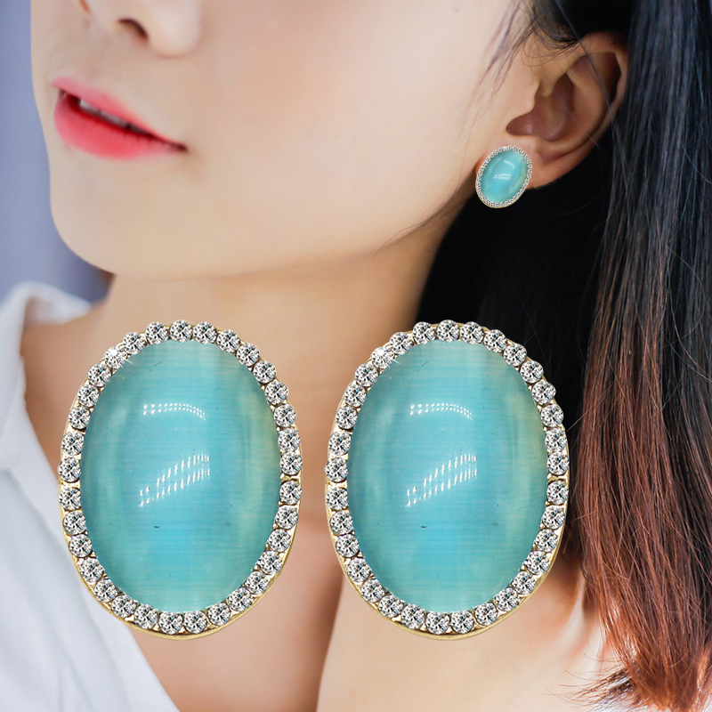 Geometric Ball Opal Stud Earrings For Women Fashion Brand Egg Pearl Earring Classic Vintage Party Girls Jewelry For Gifts