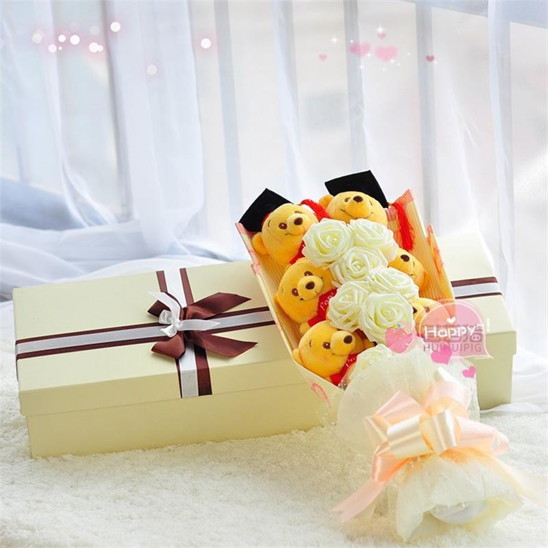 Belle substance animal ours en peluche jouets en peluche bande dessinée bouquet boîte-cadeau avec de fausses fleurs cadeaux créatifs pour l'obtention du diplôme/anniversaire