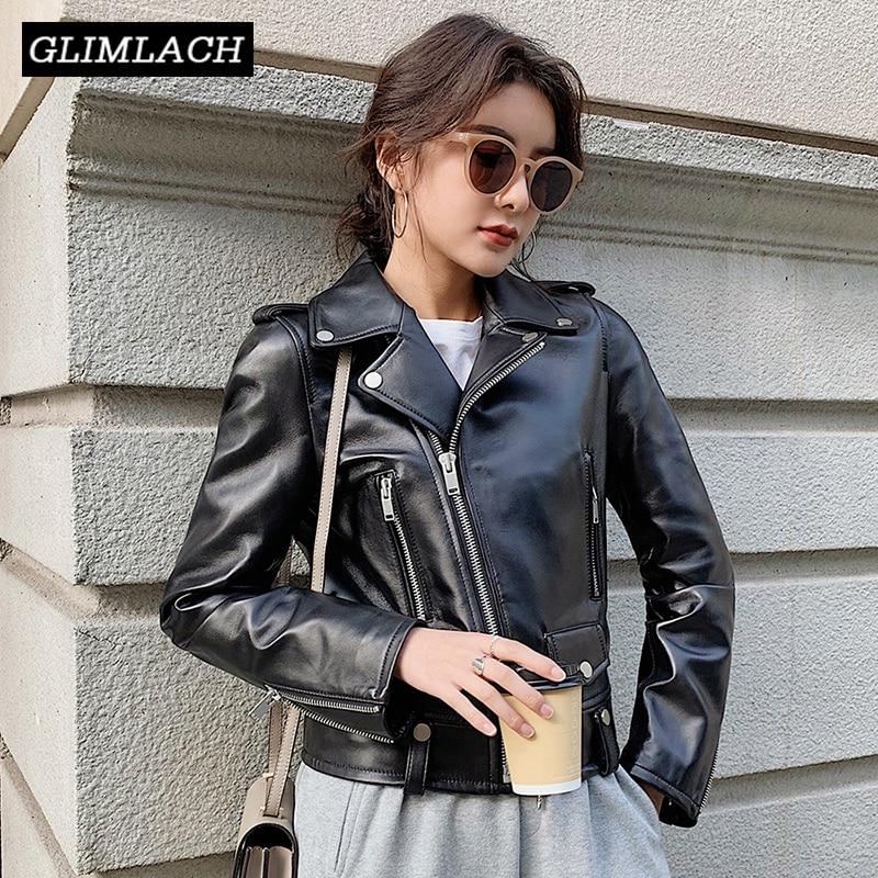 Women Plus Size Sheepskin Genuine Leather Jackets Autumn Slim Motorcycle Biker Jacket Ladies Real Leather Coats Chaqueta Mujer