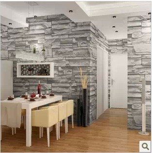 Chinese Style Dining Room 3D Wallpaper Stone Brick Design Background Wall  Vinyl Wallpaper Modern For Living