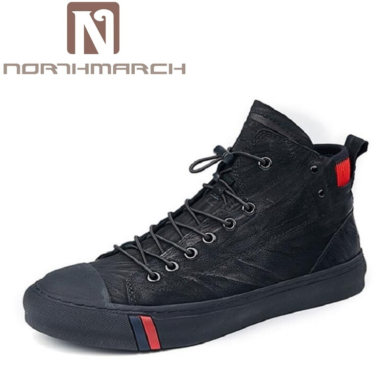 NORTHMARCH Designer Men Shoes High Quality Leather Sneakers Men Ankle Boots Luxury Brand Winter Men Boots Black Botas De Hombre feidu 2015 brand designer high quality metal sunglasses women men mirror coating лен sun glasses unisex gafas de sol