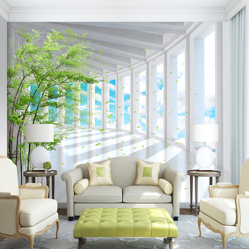 Photo Wallpaper 3D Stereo Blue Sky Green Tree Space Expansion Mural Wallpaper Living Room TV Sofa Background Wall Paper For Wall shinehome black white cartoon car frames photo wallpaper 3d for kids room roll livingroom background murals rolls wall paper