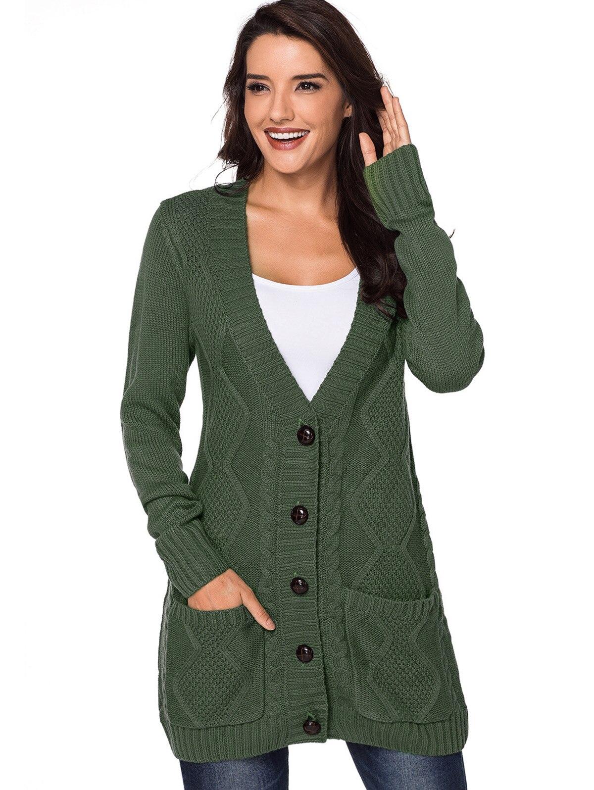 2018 Douille Avant light Pull De À Cou Bouton Solide Automne Cardigan Noir army Poches Profonde Mode Nouveau Pleine Gray Femmes Up Long Green V Outwear qzqwF