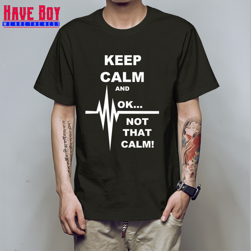 4f8d27789 HAVE BOY Keep Calm Ok Not That Calm Paramedic EMT T Shirt Men's Solid Color T  Shirt HB235