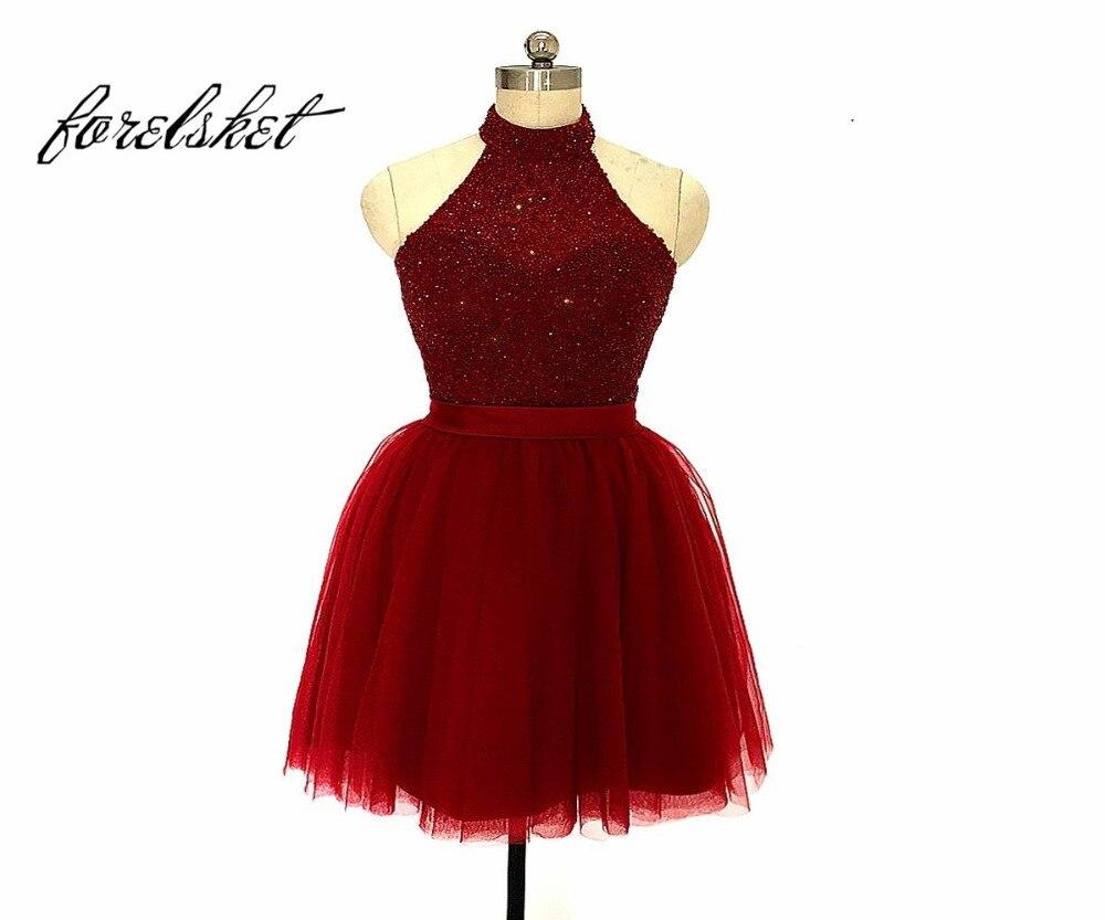Sparkly Beaded Dress Evening 2019 Backless Halter Women