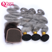 1b Grey Ombre Color Brazilian Body Wave Human Hair 3 Bundles with 4X4 Lace Closure Non Remy Hair Dreaming Queen Hair