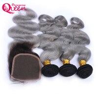 1b Grey Ombre Цвет Бразильский объемная волны человеческих волос 3 Связки с 4X4 кружева застежка не Волосы remy Dreaming queen hair