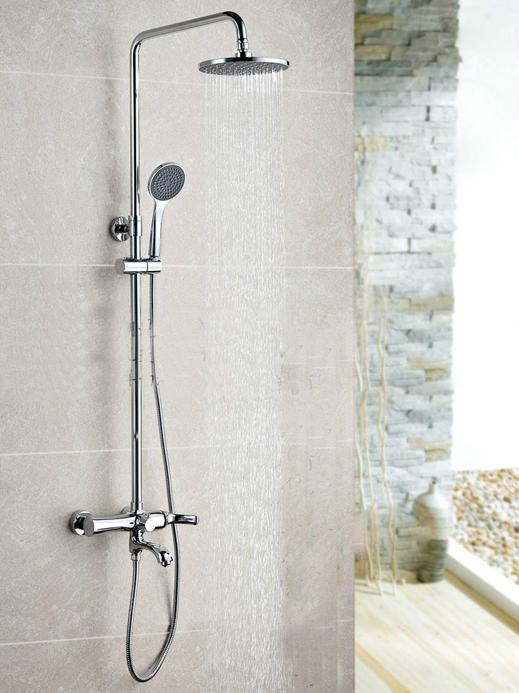 Настенный хром закончил Дождь Латунь Ванная комната душ колонке ванны набор для душа с ABS ручной Насадки для душа