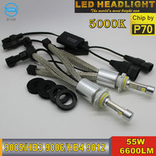 Ossen P70 13200lm HB4 9006 Żarówki Reflektorów LED 110 w 5000 K Super Bright XHP-70 Chips Lampa Reflektory Przeciwmgielne Kit H4 H7 H8 H9 H11 9012