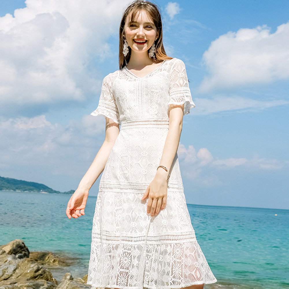aa528b93a0342 Worldwide delivery white lace dress high quality in NaBaRa Online