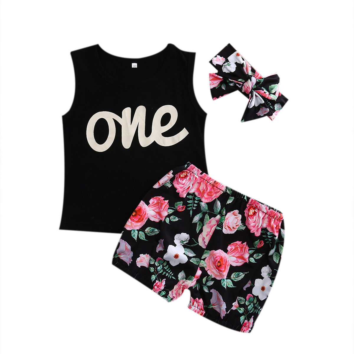 3PCS Newborn Infant Baby Girls Outfit Clothes Sleeveless Tand Top+ Floral Short +Headband Clothing Set