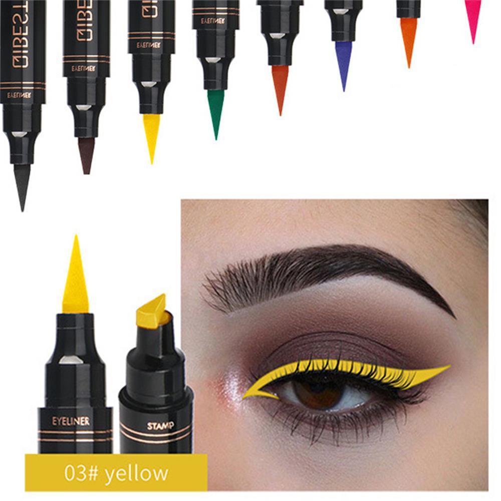 Colorful Seal Stamp Liquid Eyeliner Pen Waterproof Fast Dry Black Eye Liner Pencil With Eyeliner Cosmetic Double-ended Eyeliner
