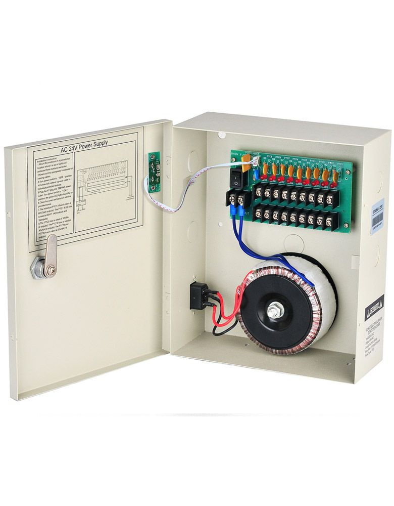 24v AC Power Supply 5A 9 Channels Boxed Security Power Distribution 220V/110V AC