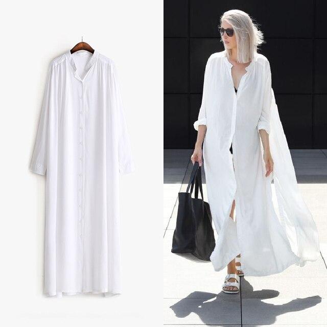 [Twotwinstyle] 2017 verano camisa de manga larga dress mujeres lados hendidura botones multi way to wear nueva ropa negro blanco de la manera