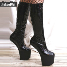 2016 New Design Sexy High-Heels Shoes Knee-High Boots Fashion Women Round Toe Platform Patent Leather boots  Big size стоимость