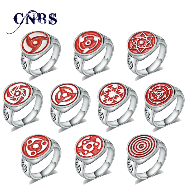 Hot Anime Naruto Sharingan Rings Metal Silver