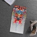 Bodycon Юбки Летом Геометрия Мультфильм Печатных Высокая Талия Тонкие Бедра Midi Карандаш Юбки Женщины Офис Рабочая Одежда faldas largas