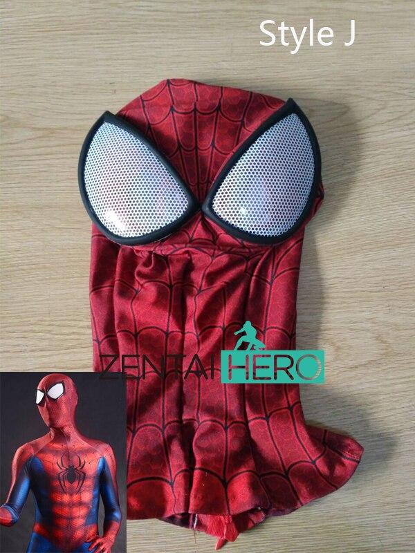 ZentaiHero NEW 3D Printing Spider-Man Mask Halloween Lycra Spandex Zentai Superhero Red Spiderman Hood With Eyes Lenses MK-11