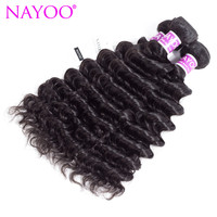 NAYOO Indian Deep Wave Curly Hair Weave Bundles 100% Human Hair Weaving Natural Color Remy Human Hair Extensions 8-26inch