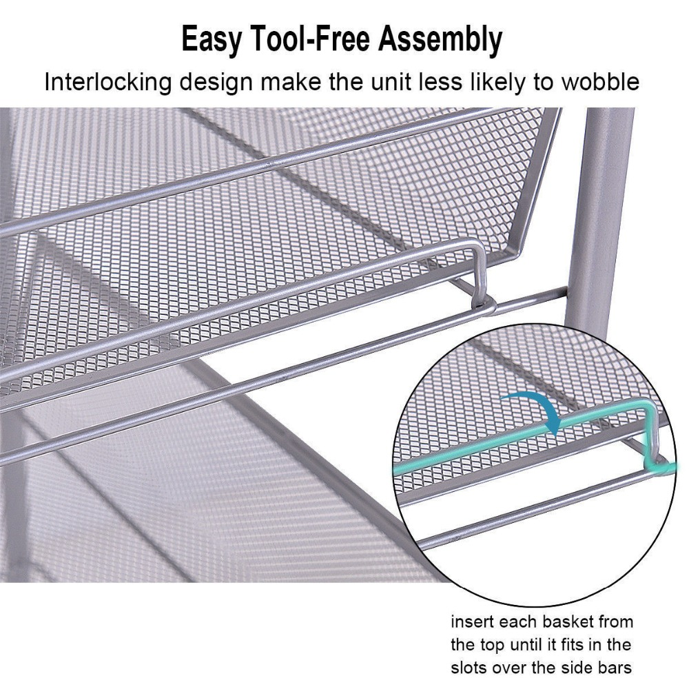 Mesh Rolling File Utility 5 Tier Cart Home Office Kitchen Storage Basket 10