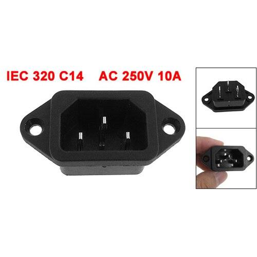 THGS IEC 320 C14 Fiche Mâle 3 Broches PCB Panneau Power Inlet Socket Connecteur