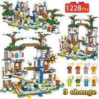 1228Pcs My World Building Blocks Compatible Legoing Minecrafted The Mine Cave Mine Slide 3 Change Bricks Toys For Children