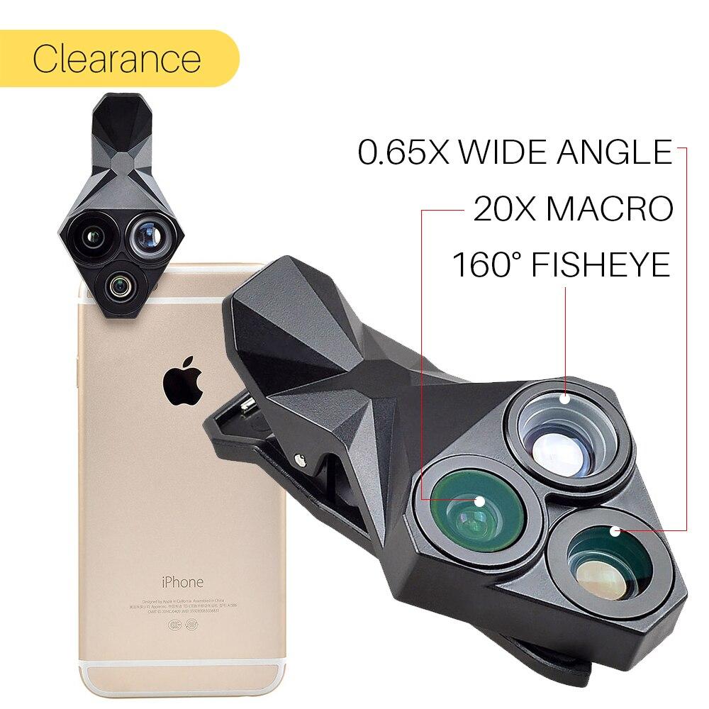 Ulanzi телефон Объектив для камеры комплект 3 в 1 Рыбий глаз Широкий формат макро Объективы для телефонов комплект фотографии для IPhone X 8 плюс …