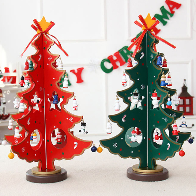 Christmas Decorations 2017 For Home Creative DIY Wooden Christmas Tree Gift Ornament  Xmas Tree Table Desk