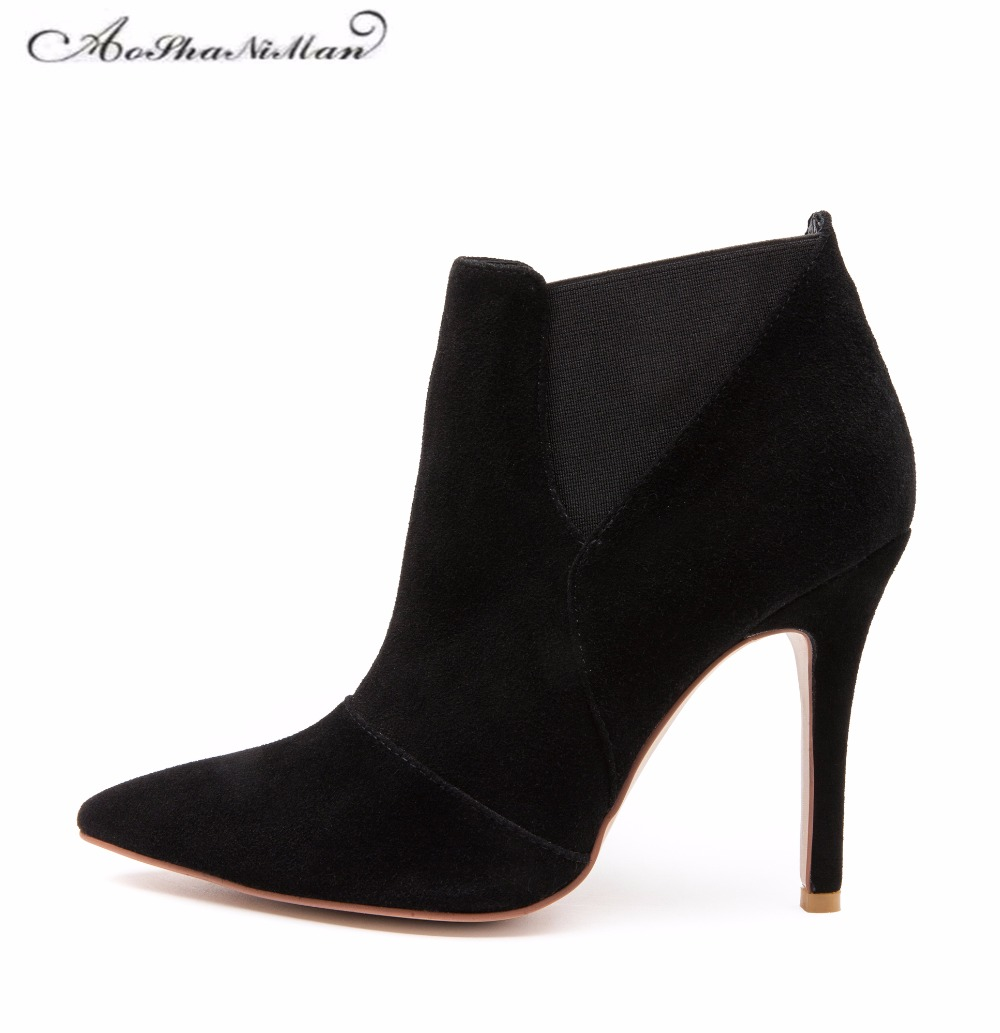 Spring Autumn Woman Shoes Cow suede Shoes High Heels sexy party Pumps Fashion Women's pointed toe thin heel ankle boots 34-41 spring autumn shoes woman pointed toe metal buckle shallow 11 plus size thick heels shoes sexy career super high heel shoes