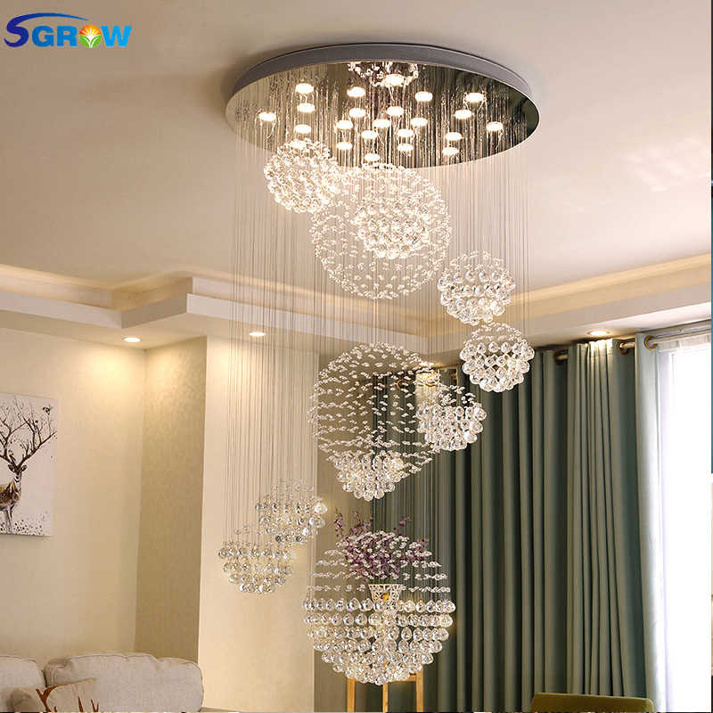 SGROW K9 Crystal Ceiling Chandeliers for Bedroom Hotel Living Room Villa Stairs Suspension LED Lamp Lighting Fixtures Lustre