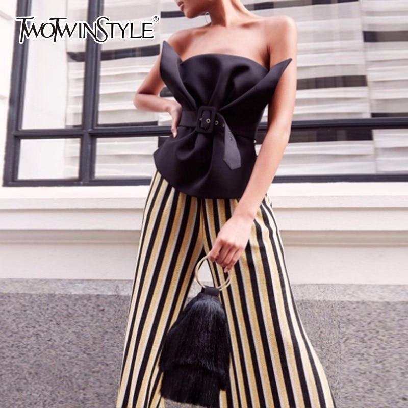 TWOTWINSTYLE Off Shoulder Shirt Female Ruffles Slash Neck Sashes High Waist Irregular Blouse Summer Sexy Fashion Tops Clothing
