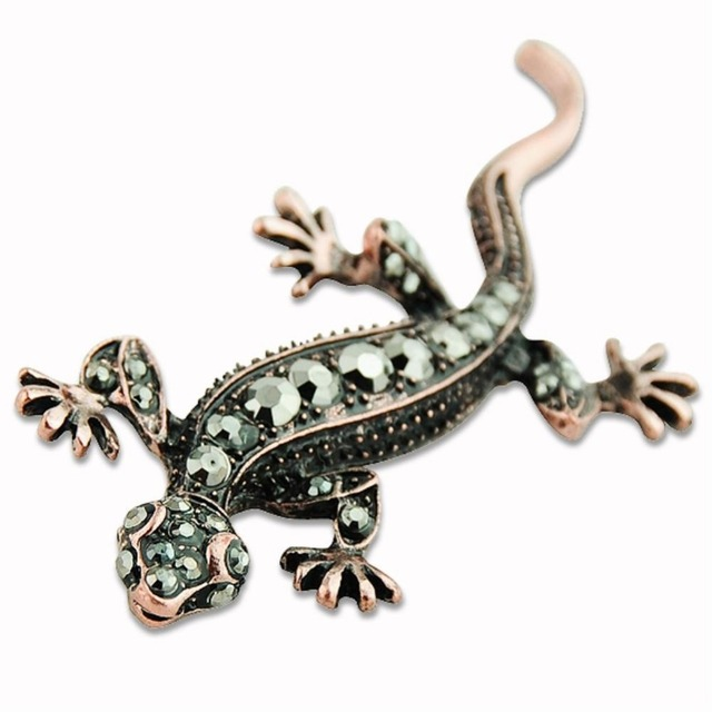 Cheap Sale Awesome vintage copper tone crystal lizard gecko pin brooch body jewe