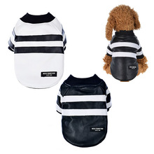 Фотография Warm Leather Dog Coat Jacket with Black and White Striped Pet Autumn Winter Costume Dog Fashion Clothes with Button Cosplay Coat
