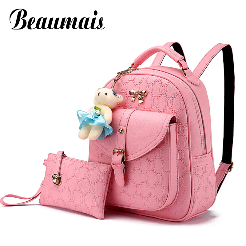 Beaumais 2Pcs Set Women Backpack Leather Backpack With Bear Embossed School Bags for Teenager Girls Backpacks