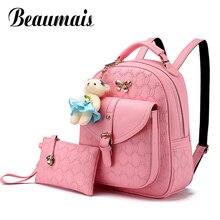Beaumais 2 шт./компл. женщины рюкзак кожаный рюкзак с медведь тиснением Школьные ранцы для девочек-подростков Рюкзаки Mochila DB6030