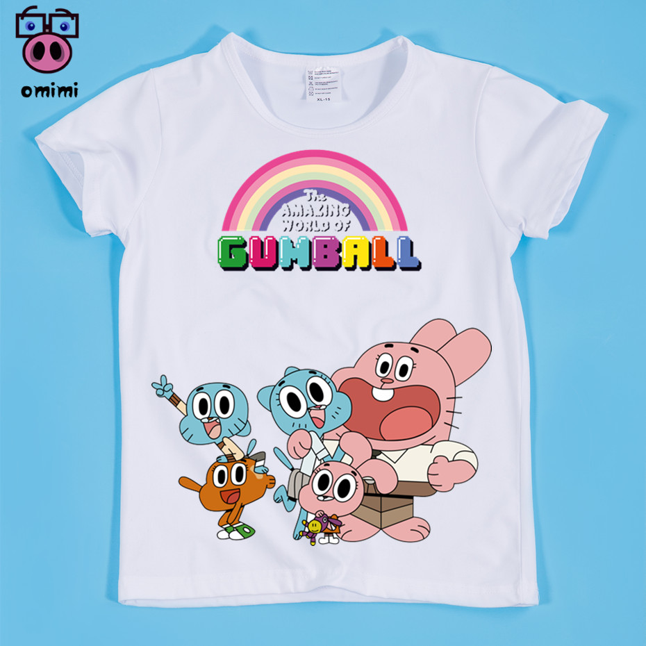 Размеры (90-160 см) детская удивительный мир Gumball мультфильм милый Дизайн Футболка с принтом для мальчиков/футболка для девочек Детская Милая о...