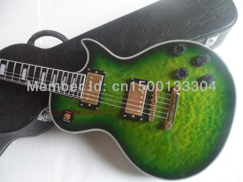 Electric guitar  new gib lp custom green burst color electric guitar/maple flame top guitarra/ebony oem brand guitar in china new brand custom shop 1960 bourbon burst lp guitar deluxe completed musical instruments chinese electric guitar free shipping