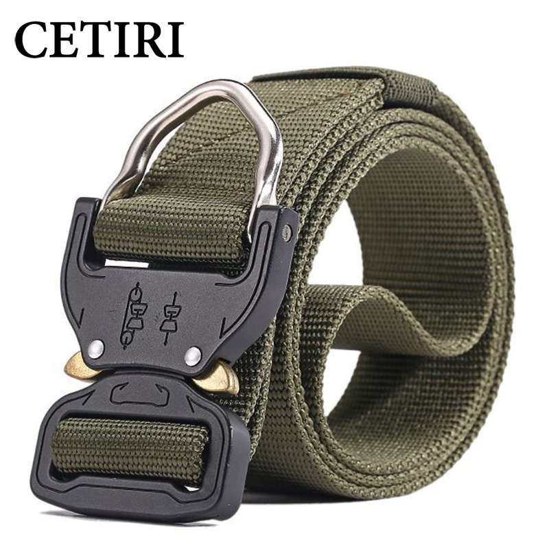 CETIRI 3.8cm Nylon Tactical Belt Military Style Webbing Riggers Web Belt with Heavy-Duty Quick-Release Metal Buckle