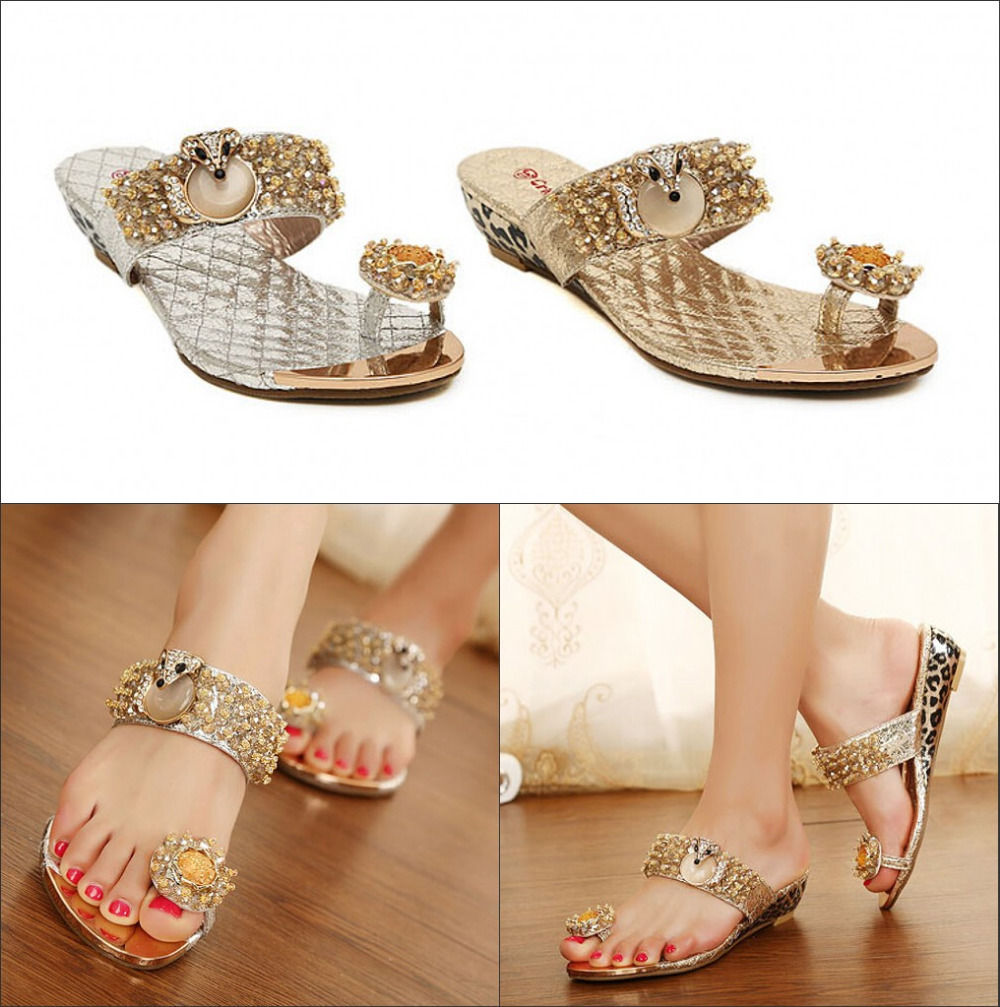 Women's sandals with bling - 2017 New Style Women S Sandals Fashion Bling Flip Flops Beach Diamond Slippers Free Shipping Lady Wedges