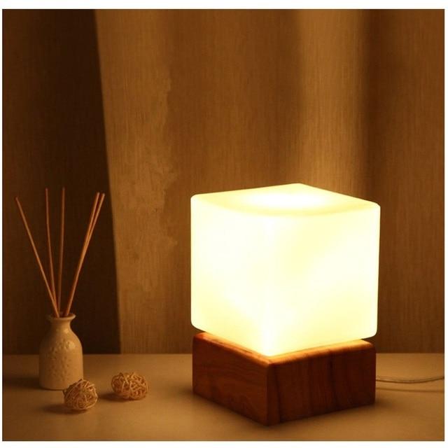 Massivholz Glasschirm Nachttischlampe Einfache Dekoration Augenschutz  FÜHRTE Schreibtischlampe Wohnzimmer Arbeitszimmer Nachtlicht