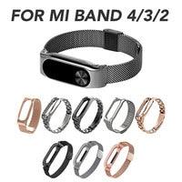 Mi Band 4/3 Strap Metall Rahmen Edelstahl Armband Armbänder Ersetzen Straps Für Xiao mi mi Band 2 Handgelenk Band gürtel