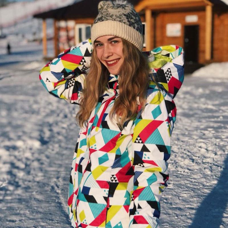 Зимний лыжный костюм женский бренд 2018 высокое качество лыжная куртка и брюки зимние теплые непромокаемые ветрозащитные лыжные и сноуборди...