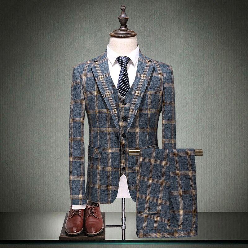 Pantalon Suits Rétro La Marié 5xl Gilet Coréenne Mode Loisirs Jeunesse top Automne Petit Costume Hommes Et Printemps De Britannique Plaid UpWwAqdy