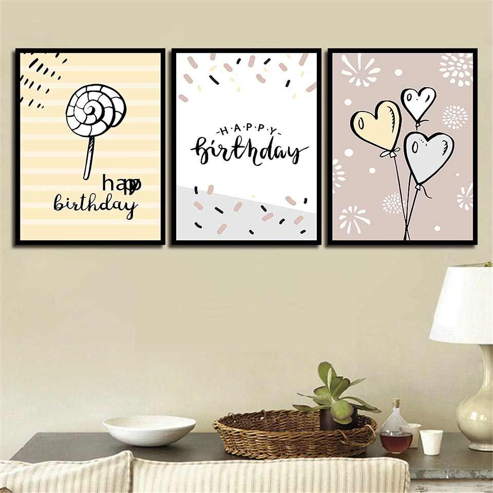 Nordic Watercolor Lollipop Canvas Poster Happy Birthday Balloon Painting  Home Decor Print Quotes Pictures Kids Bedroom Wall Art