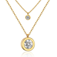 2016 Fashion 316L Stainless Steel Women Fashion Jewelry CZ Diamond Double Pendants Necklace Gold Plated Gold