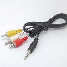 3.5 มม.ถึง 3 RCA AV A/V ทีวีวิดีโอสำหรับ MP3 MP4 PMP Media Player ใหม่