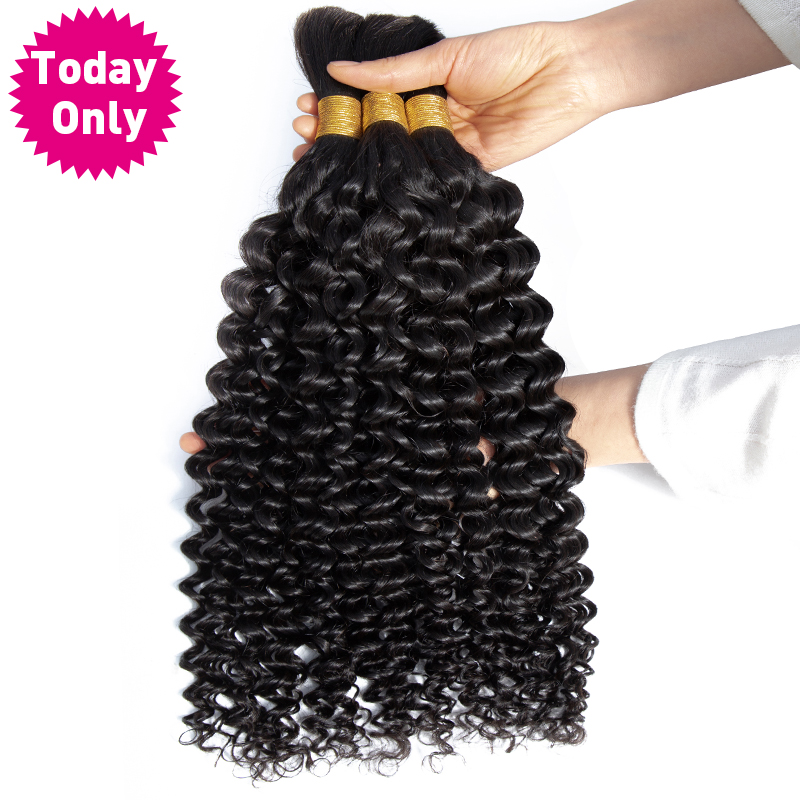 TODAY ONLY 3 Bundles Human Braiding Hair Bulk No Weft Peruvian Hair Bundles Water Wave Bundles Braiding Hair Extensions Remy