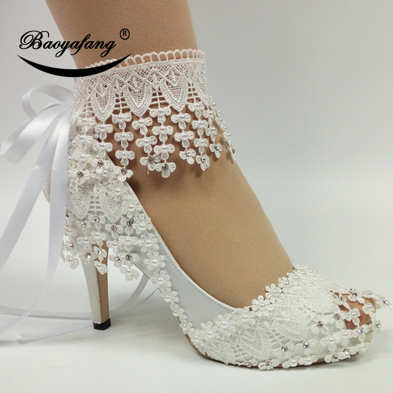BaoYaFang 2019 New Lace Up fashion shoes For woman White Flower Wedding shoes Ankle Strap High shoes sweet party shoe-in Women's Pumps from Shoes    1